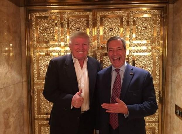 Brexit-voorman Nigel Farage op bezoek bij Donald Trump