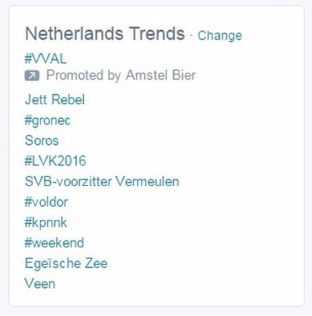 #LVK2016 trending topic in Nederland