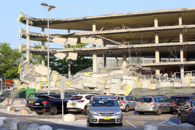 Bewakingscamera legt bezwijken parkeergarage Eindhoven Airport vast