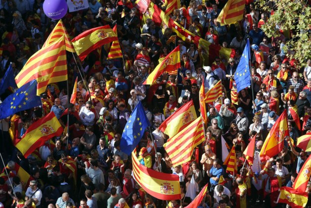 Protest in Barcelona tegen Catalaanse onafhankelijkheid