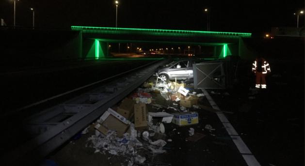 Chaos op A73 door ongeval met meerdere auto's