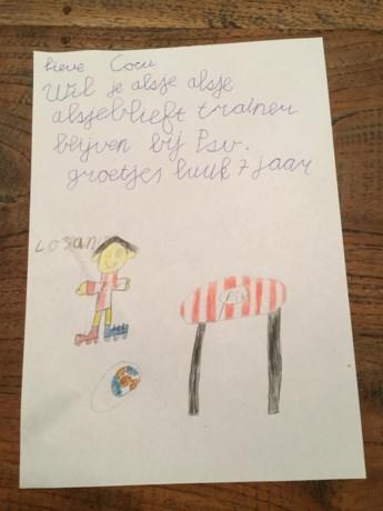 Superfan Luuk (7) ontroert met brief aan Cocu: 'Wil je alsjeblieft blijven?'