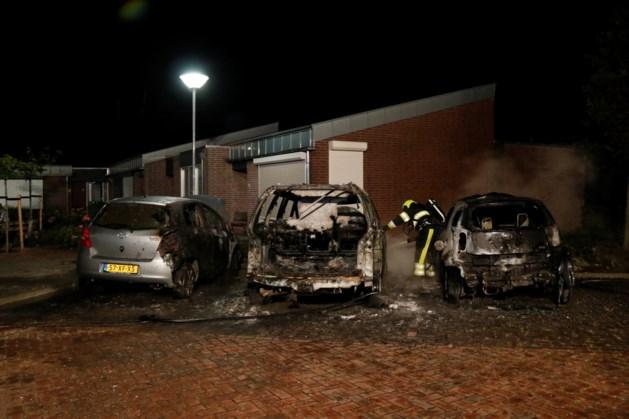 Drie auto's gaan in vlammen op in Well