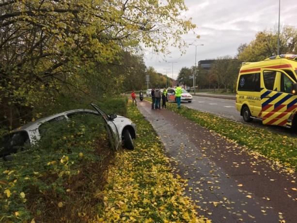 Jonge joyriders raken met auto van de weg