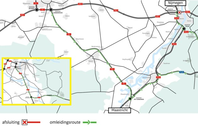 A67 twee weekeinden afgesloten in richting Duitsland
