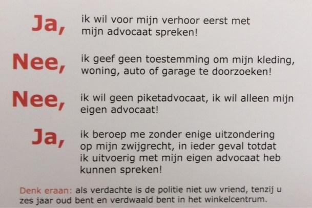 Proces verbaal over visitekaartje advocaat in zaak Parkstadbende