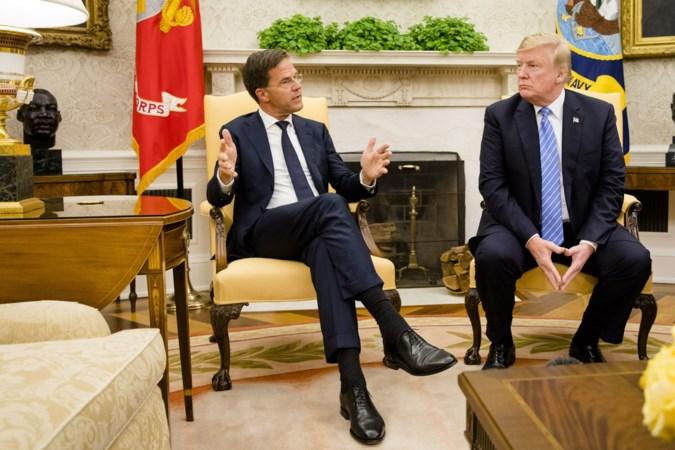 Premier Rutte bij Trump op visite met de D-day-vlag