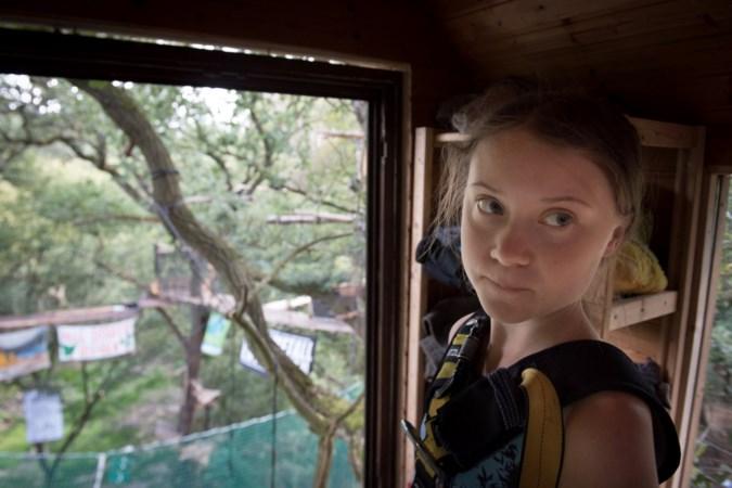 Jonge klimaatactiviste Greta Thunberg schrikt van bruinkoolmijn en Hambacher Forst