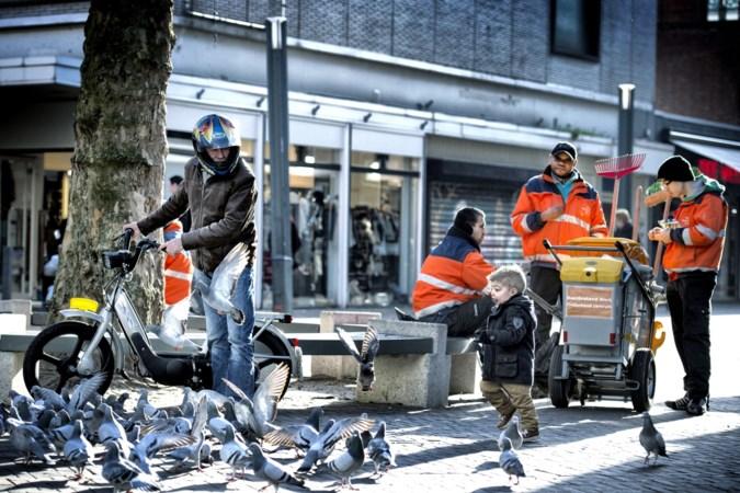 Draden tegen duiven die etalages in Heerlense passage bemesten