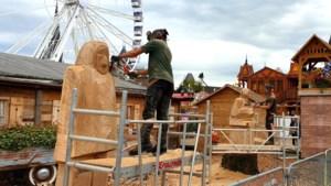 Woodcarving op Oktoberfeest Sittard in volle gang