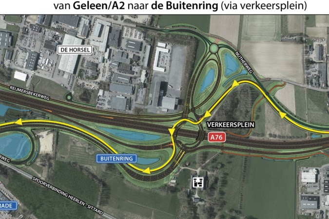 Stadsdeel Hoensbroek krijgt vermelding op apart bord langs A76 vóór turborotonde Buitenring