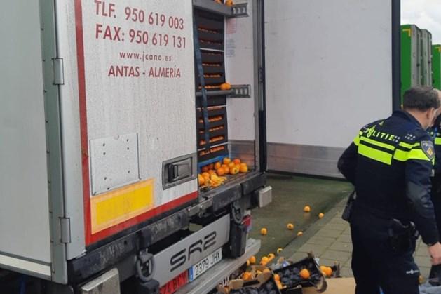 Verstekelingen springen uit vrachtwagen vol sinaasappelen