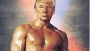 Trump twittert bizarre foto van zichzelf als bokslegende Rocky met blote borstkas