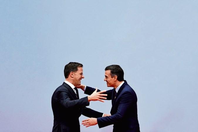 Premier Rutte in Den Haag 'vroem', in Madrid 'groen'