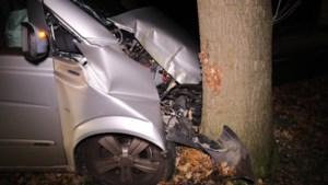 Auto total loss na botsing tegen boom