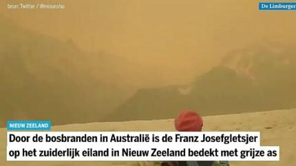 Gletsjers Nieuw-Zeeland onzichtbaar door rook van Australische bosbranden