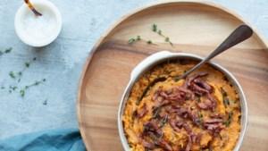 Recept: Zoete-aardappelstamppot met prei en spekjes