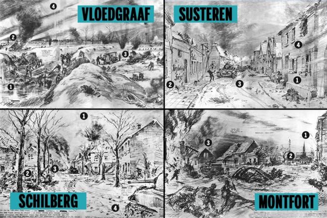 Bevrijding Midden-Limburg: Operation Blackcock vastgelegd door Britse oorlogstekenaar