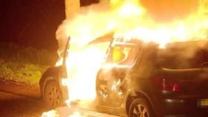 Video: Auto brandt volledig uit, kleine explosie te horen