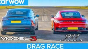 Wie wint de sprint: Tesla Model 3 of Porsche 911 Carrera S?