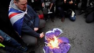 Europese vlag in vlammen: Brexitfans en EU-activisten treffen elkaar in Londen