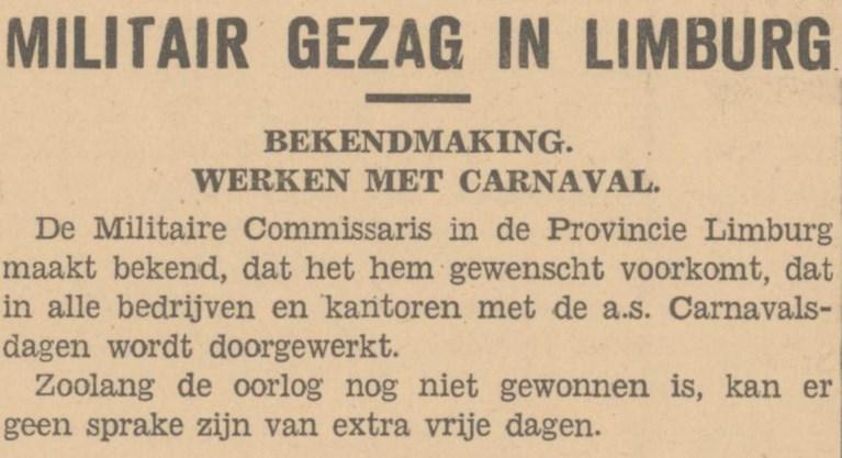 Week 22 van de Limburgse bevrijding: Met carnaval wordt gewoon doorgewerkt