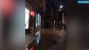 Video: Straten binnenstad Maastricht onder water door leidingbreuk