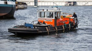 Zeilschip brengt in Amsterdam verdwaalde dolfijn weer naar zee