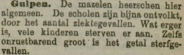 Gulpen lijdt in 1907 onder mazelenepidemie