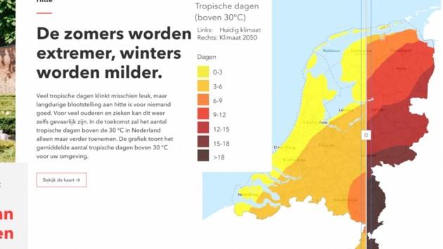 Bekijk van straat tot straat wat Limburg te wachten staat: nattere winters, hetere zomers