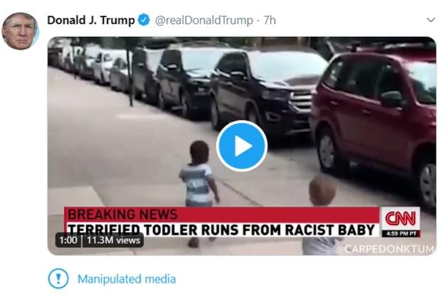 Twitter plaatst opnieuw melding bij bericht Trump
