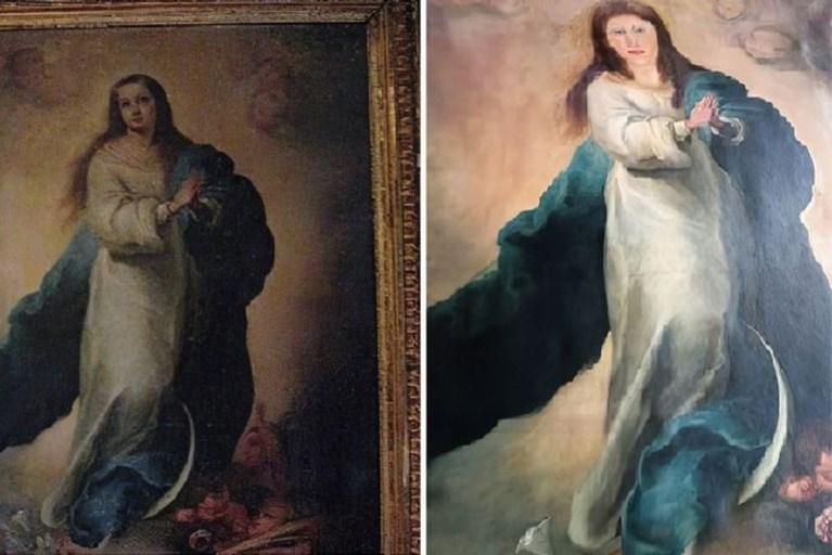 Opnieuw gaat restauratie schilderij gruwelijk mis in Spanje: 'Die klunzen verknoeien het keer op keer'