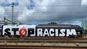 Trein met 'Stop Racism'-boodschap staat in Maastricht