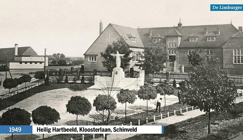 Kloosterlaan in Schinveld: alleen het Heilig Hartbeeld heeft hier de slopershamer overleefd