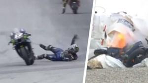 Waanzin: coureur laat zich bij 220 km/u van motor vallen omdat remmen het begeven