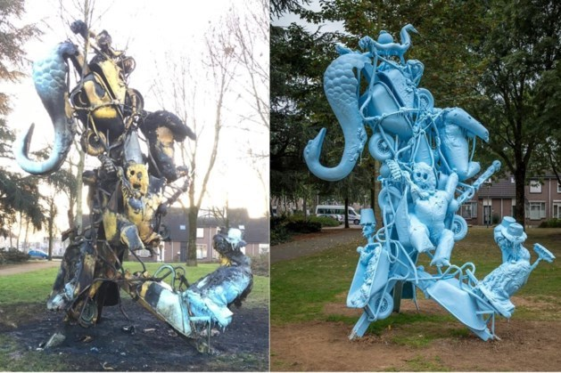 Door vandalen afgebrand kunstwerk in Heerlen is te zwaar beschadigd voor herstel ter plaatse; renovatie vindt nu plaats in spuiterij