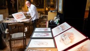 Kunstenaar Mathy Engelen kleurt aquarellen in met wijn en bier