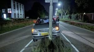 Automobiliste botst tegen lichtmast in middenberm