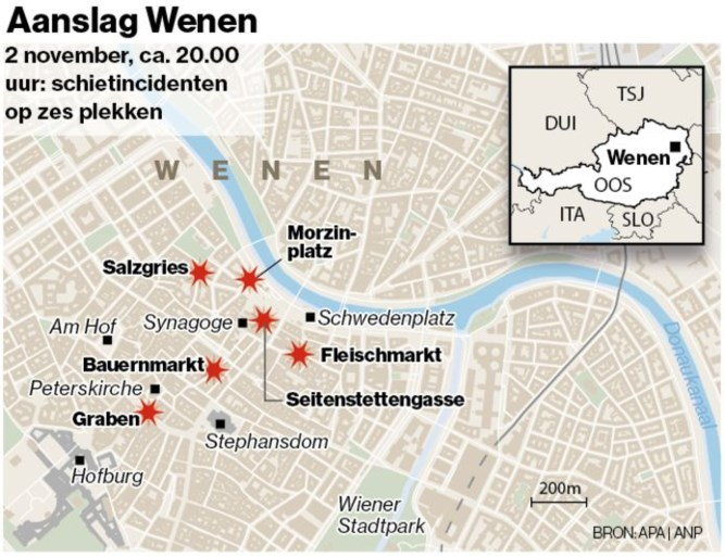 Doodgeschoten dader aanslag Wenen eerder veroordeeld, vijfde slachtoffer overleden