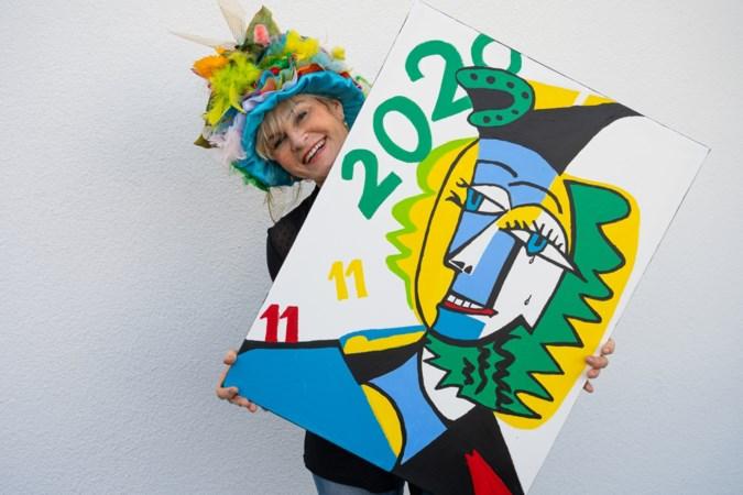 Amateurschilder Lilian Savelkoul uit Munstergeleen maakt vastelaovendsschilderij 'om carnaval levend te houden'