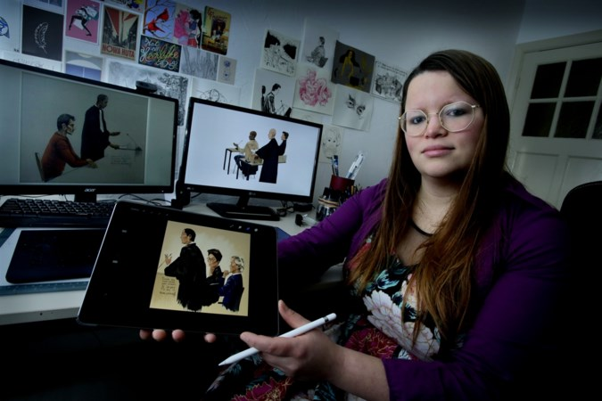 Renée (29) uit Susteren maakte promotietekeningen voor Netflix-serie 'Undercover': 'Het voelde alsof ikzelf undercover ging'