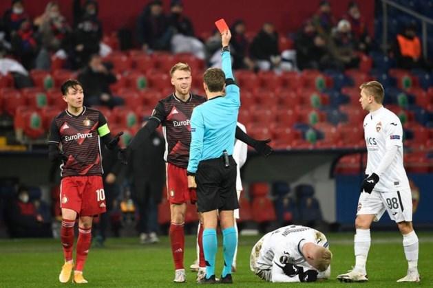 Feyenoord houdt dapper stand in Moskou na rode kaart Jørgensen