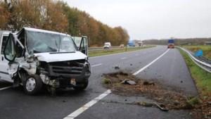 Ongeluk met vrachtwagen en bestelbus op A67 bij Asten, bestuurder gewond