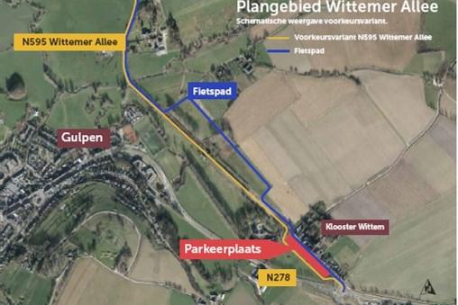 Door de Wittemer Allee iets te verschuiven komt de grote parkeerplaats pal voor het klooster van Wittem te liggen