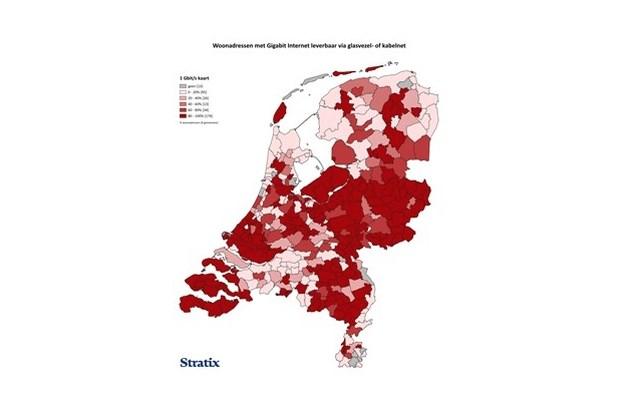 Aandeel Gigabit-verbindingen in groot deel Limburgse gemeenten onder de maat