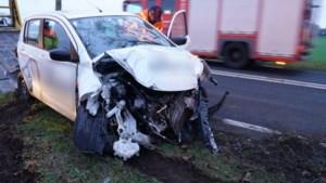 Auto komt tot stilstand tegen boom na aanrijding met vrachtwagen in Horn