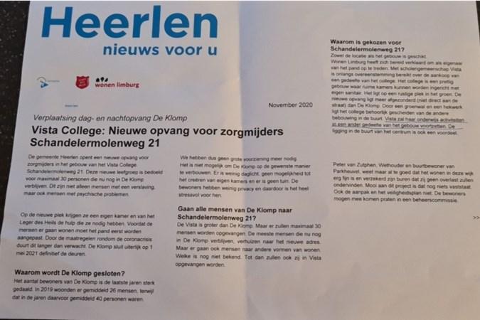 Bewonerscomité Voskuilenweg zit achter valse nieuwsbrief over Heerlense dag- en nachtopvang: 'Een grap en een sociaal experiment'