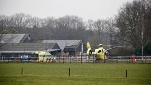 Gewonde na val van paard, traumahelikopter geland