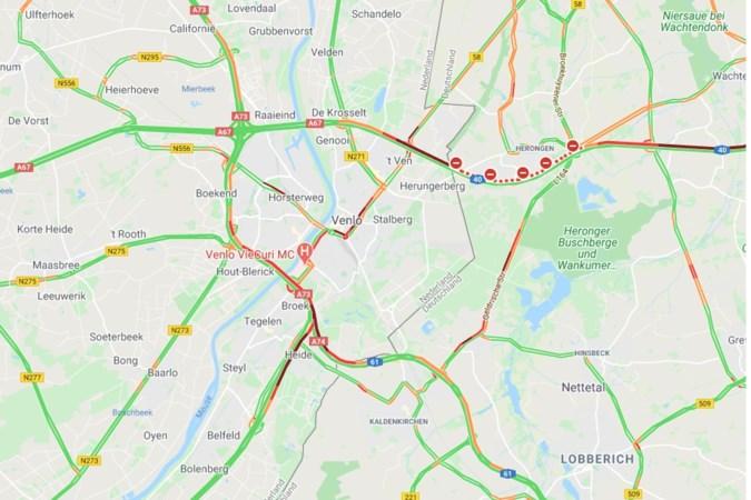 Drukte rond Venlo door afsluiting vanwege spoedreparatie