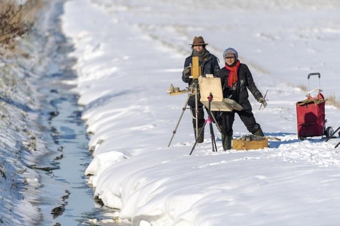 'Winterschilders' in actie bij de oorsprong van de Aa in Ospeldijk